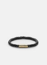 Skultuna Leather Bracelet Gold Black medium