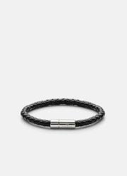 Skultuna Leather Bracelet Silver Black medium