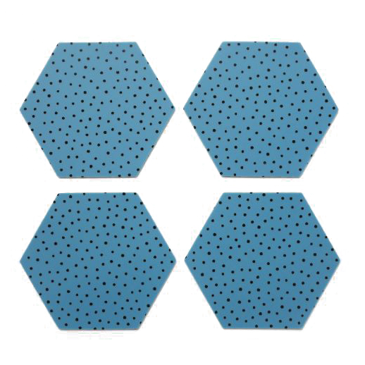 By May Polygon glasunderlägg 4-pack blue