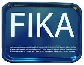 FIKA bricka svensk text blå