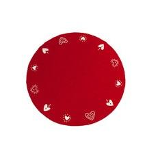Klippan Yllefabrik Hearts julgransmatta röd