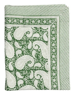 Chamois Big Paisley duk forest green