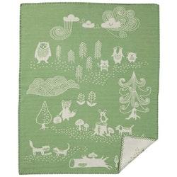Klippan Yllefabrik bomullsfilt Little Bear grön