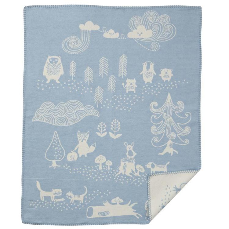 Klippan Yllefabrik bomullsfilt Little Bear blå