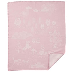 Klippan Yllefabrik bomullsfilt Little Bear rosa