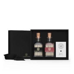 Eldstickan Presentbox tändstickor svart+vinröd