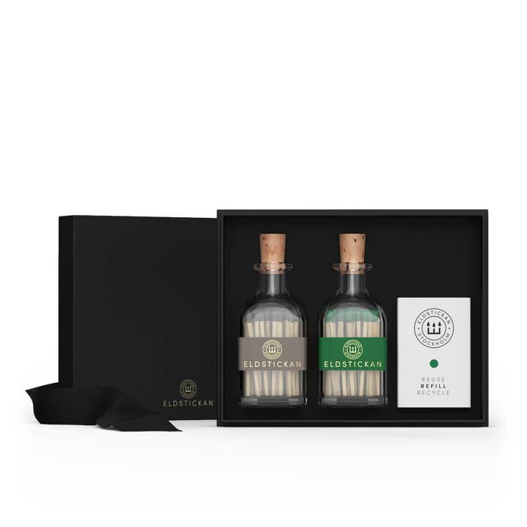 Eldstickan Presentbox tändstickor grå+grön