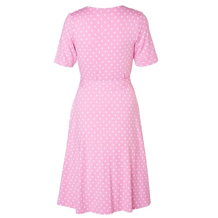 Jumperfabriken Celia Dot short sleeve dress pink