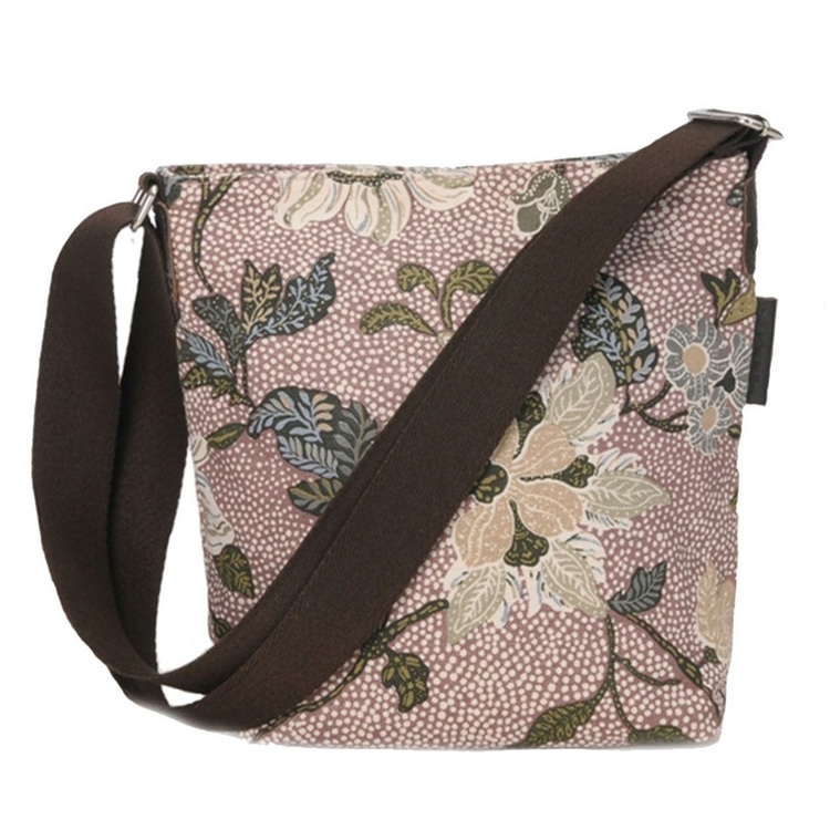 Ceannis Flower Linen Small Shoulder Bag dusty pink