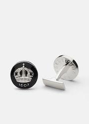 Skultuna Crown manschettknappar silver/svart