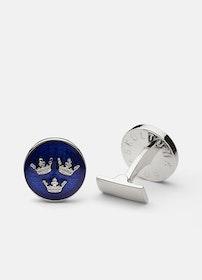 Skultuna Tre kronor manschettknappar silver/blå