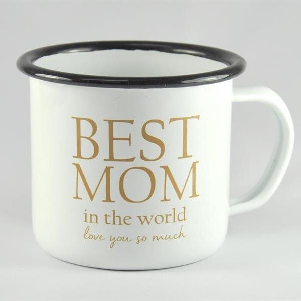 "Mellow Design emaljmugg ""Best Mom"" vit"