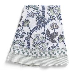 Chamois Floral Print rund duk Sea Blue