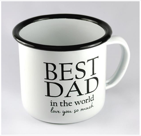 "Mellow Design emaljmugg ""Best Dad"" vit"