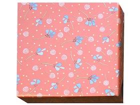 Presentpapper Blå blommor laxrosa