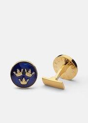 Skultuna Tre kronor manschettknappar guld/blå