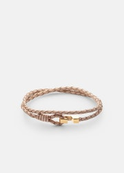 Skultuna Hook Leather Bracelet Thin Gold natural