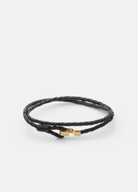 Skultuna Hook Leather Bracelet Thin Gold black