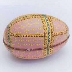 Påskägg Faberge Rosa med gult kors