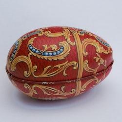 Påskägg Faberge Röd med ornament