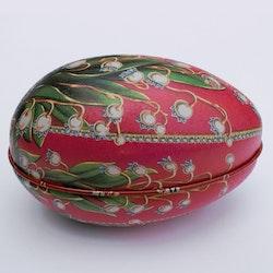 Påskägg Faberge Röd med liljekonvaljer