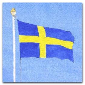 Nobhilldesigners kort med kuvert Svenska flaggan