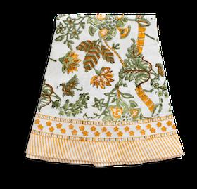 Chamois Floral Print rund duk Ochre