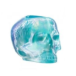 Kosta Boda Still Life Skull ljuslykta ljusblå