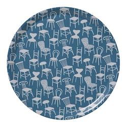 Klippan Yllefabrik Chairs rund bricka blå