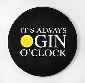 Mellow Design glasunderlägg Gin o'clock svart