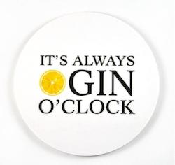 Mellow Design glasunderlägg Gin o'clock vit