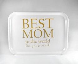Mellow Design liten bricka Best Mom vit