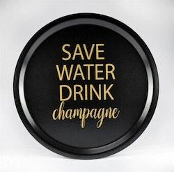 Mellow Design rund bricka Champagne svart/guld