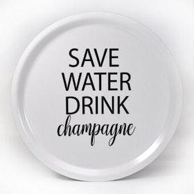 Mellow Design rund bricka Champagne vit/svart