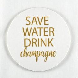 Mellow Design glasunderlägg Champagne vit/guld