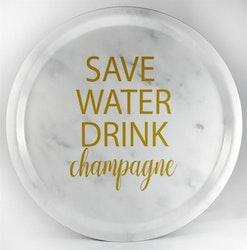 Mellow Design rund bricka Champagne marmor/guld