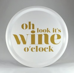 Mellow Design rund bricka Wine o'clock vit/guld