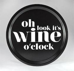 Mellow Design rund bricka Wine o'clock svart/vit