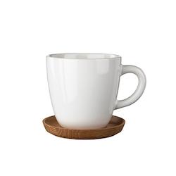 Rörstrand Höganäs kaffemugg med träfat