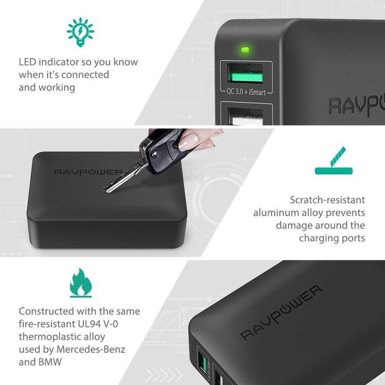 RAVPower mobilladdare med 4 uttag & QC 3.0