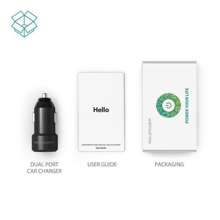 RAVPower mobilladdare för bilen med 2 uttag