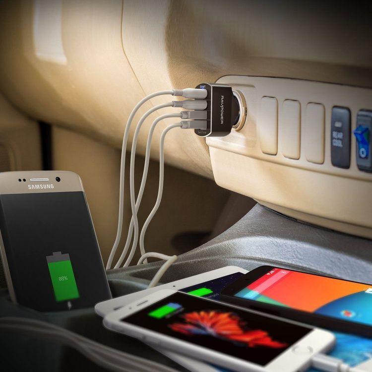 RAVPower mobilladdare för bilen med 4 uttag