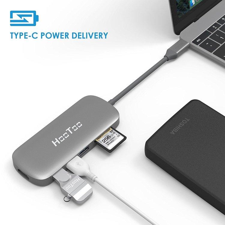 HooToo USB-C hubb - USB 3.1, PD, HDMI, kortläsare