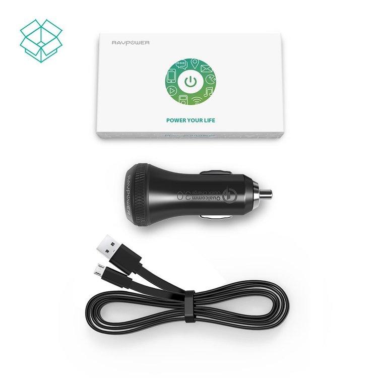 RAVPower mobilladdare för bilen med QC3 och 2 uttag