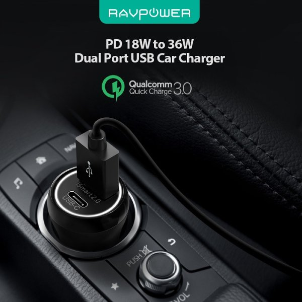RAVPower mobilladdare för bilen med USB-C Power Delivery & QC3.0