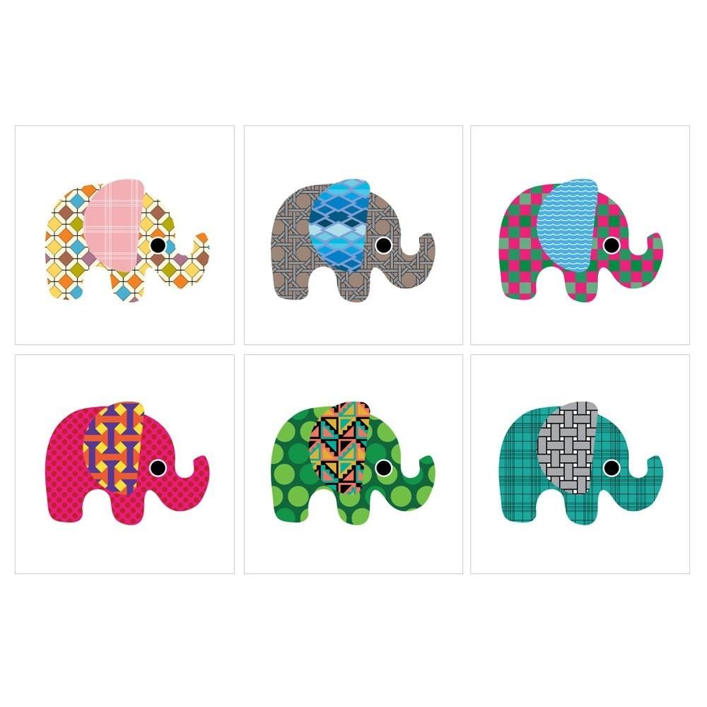 Kakeldekor 6st, Elefanter