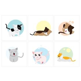 Kakeldekor 6st, Katter