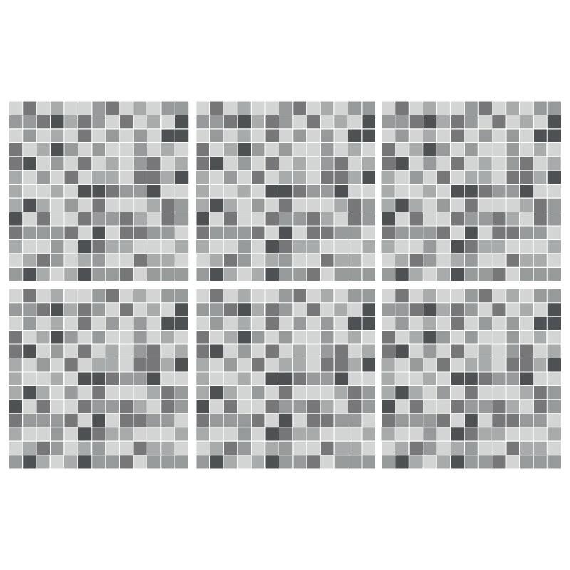 Kakeldekor 6st, Mosaik Grå