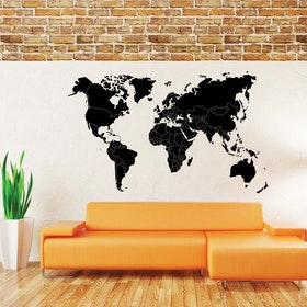 Väggdekor - Världskarta med gränser