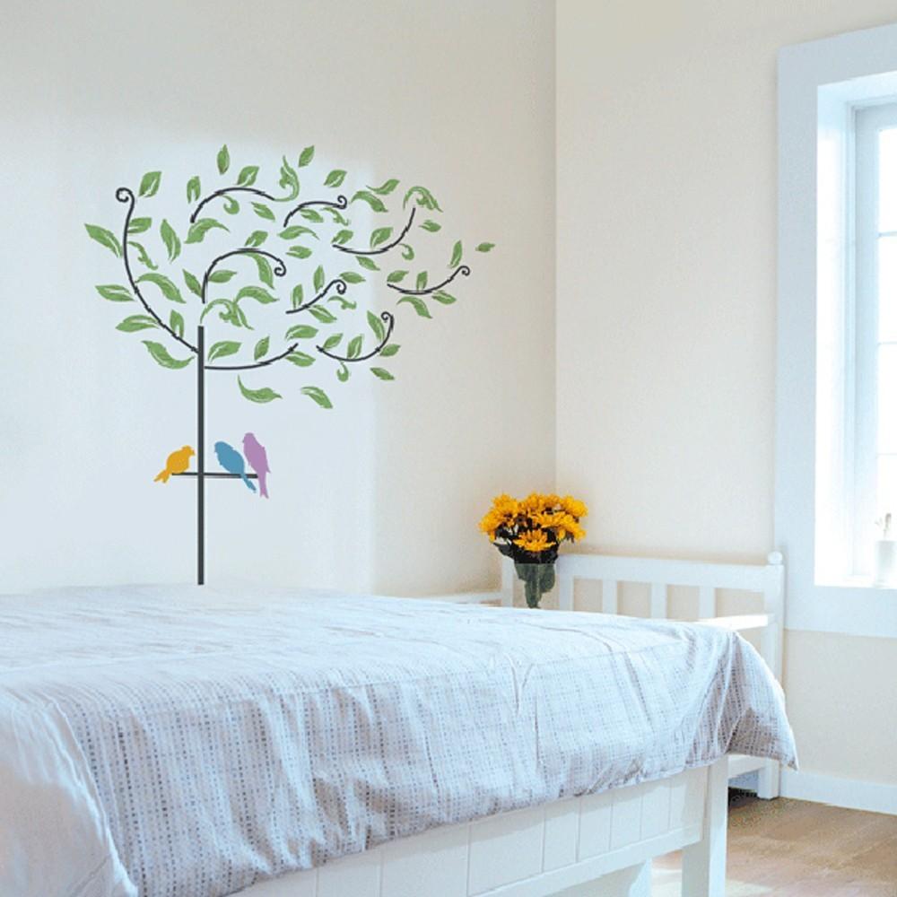 Väggdekor, Blåsigt träd med fåglar